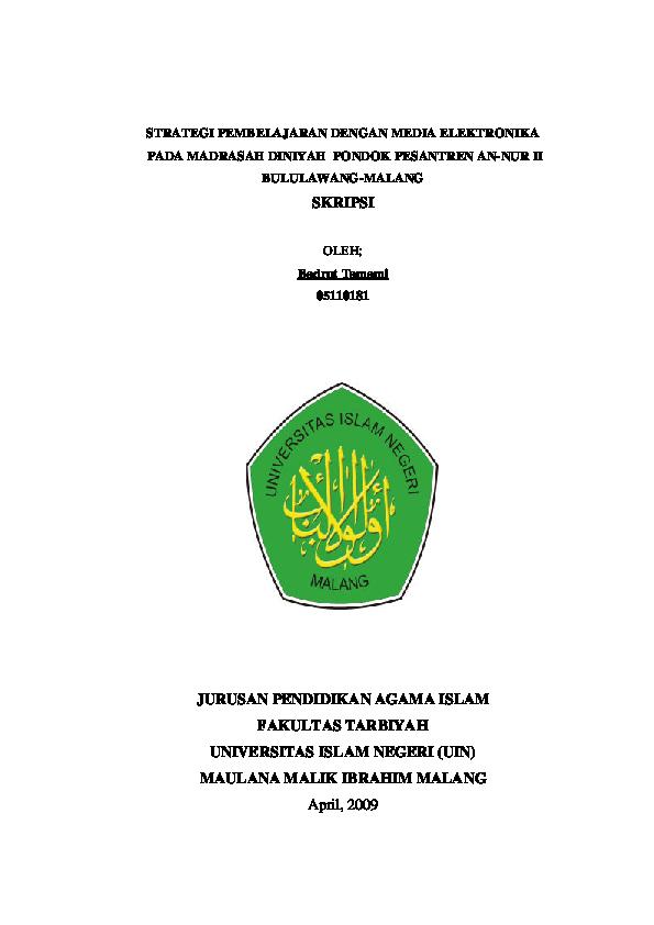 Judul Skripsi Kuantitatif Pendidikan Agama Islam