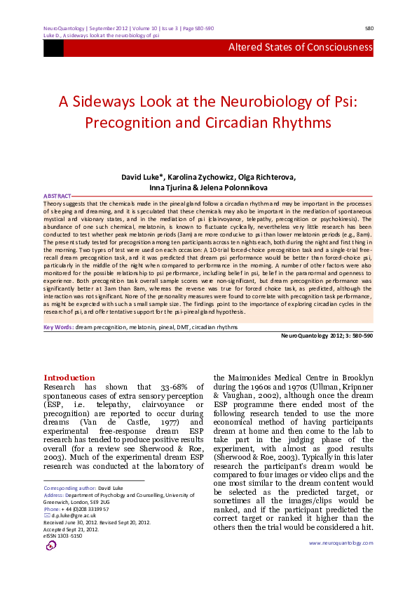 PDF) A sideways look at the neurobiology of psi