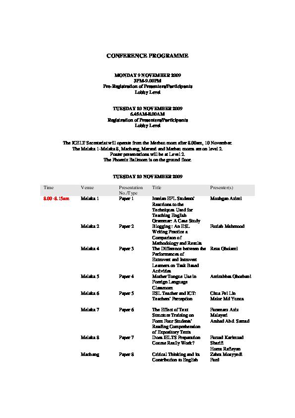 PDF) CONFERENCE PROGRAMME   norwati zain - Academia edu
