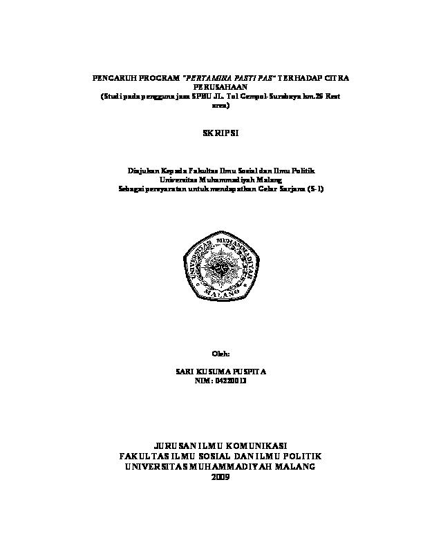Pdf Jurusan Ilmu Komunikasi Fakultas Ilmu Sosial Dan Ilmu Politik Universitas Muhammadiyah Malang Diahika Damayanti Academia Edu