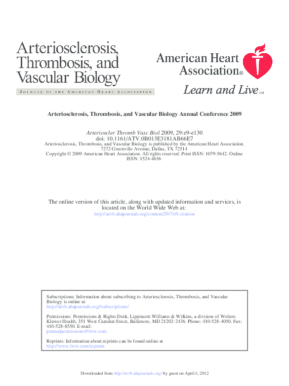 PDF) Arteriosclerosis, Thrombosis, and Vascular Biology Annual