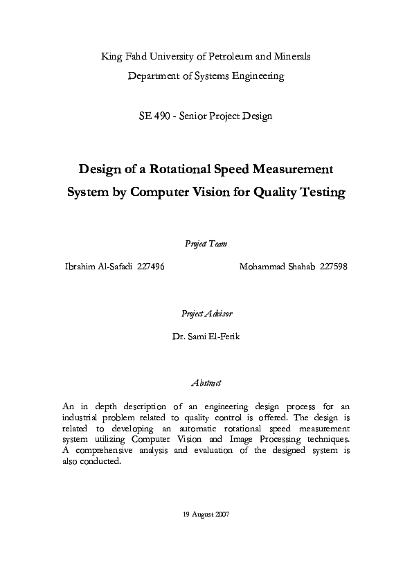 Pdf Design Of A Rotational Speed Measurement System By Computer Vision For Quality Testing Sami El Ferik Academia Edu