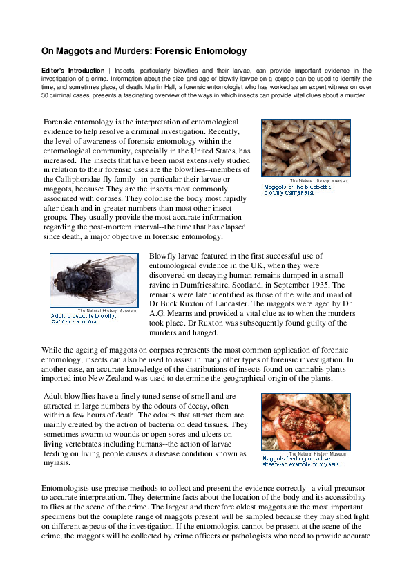 PDF) Forensic entomology: the utility of arthropods in legal