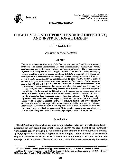 Pdf Cognitive Load Theory Learning Difficulty And Instructional Design Mohammad Ismail Academia Edu