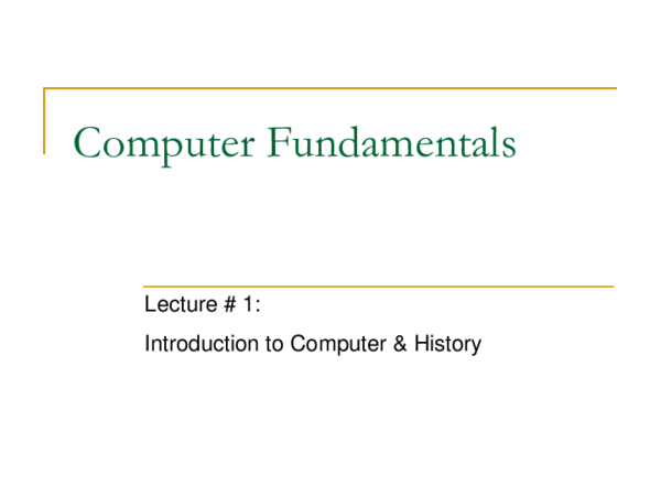 PPT) Computer Fundamentals Lectures 1 to 5 | Xafran Marwat