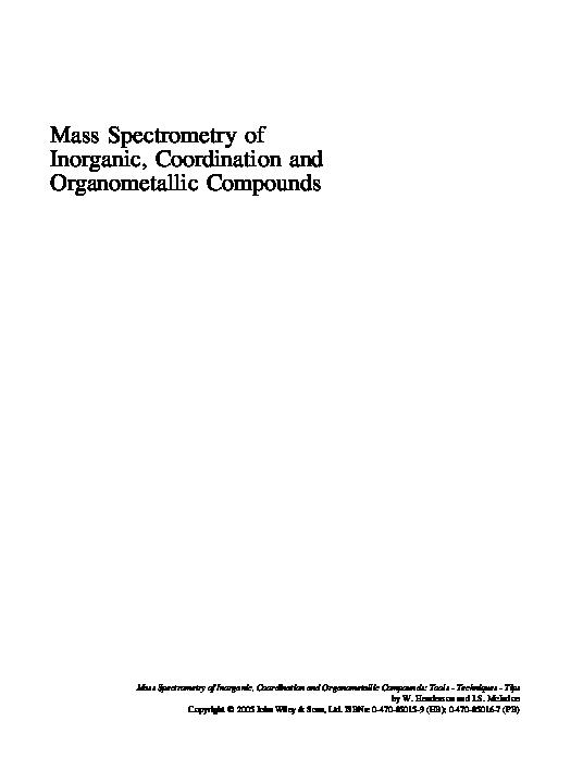 Mass Spectrometry Of Inorganic And Organometallic Compounds