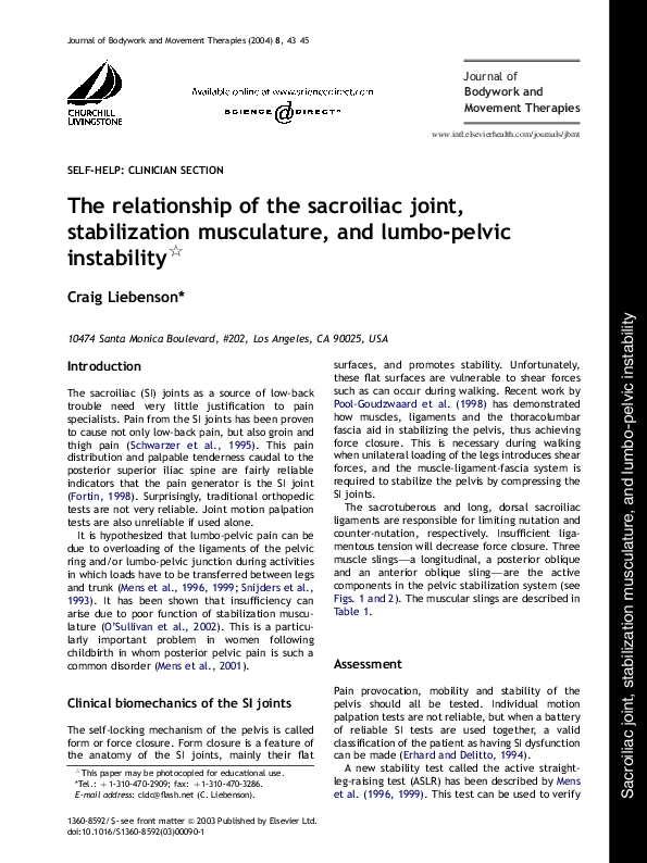 form 8992 pdf  PDF) The relationship of the sacroiliac joint, stabilization ...