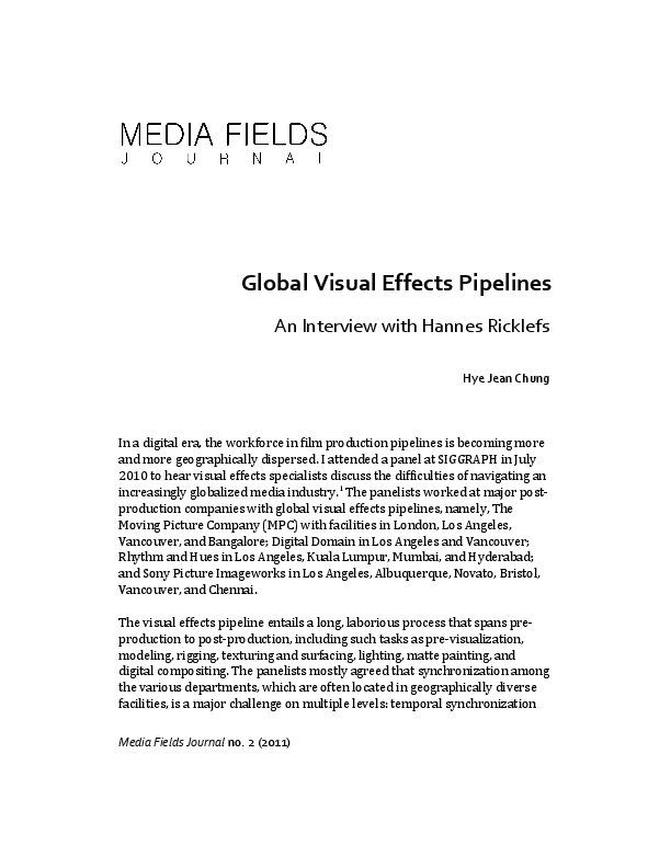 PDF) Global Visual Effects Pipelines: An Interview with Hannes