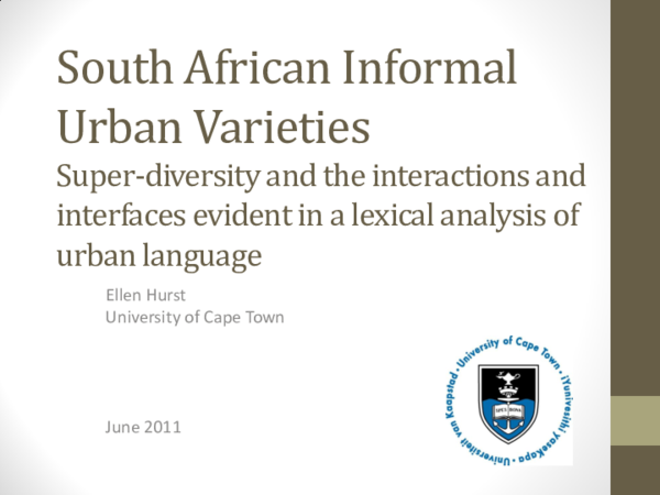 PDF) South African Informal Urban Varieties: super-diversity and the