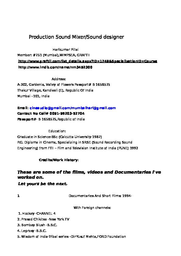 CV of HARIKUMAR PILLAI   HARIKUMAR PILLAI - Academia edu