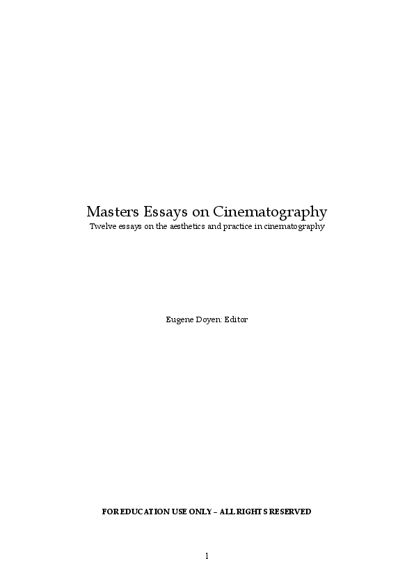 PDF) Film Directing: Masters Essays on Cinematography Edited ...