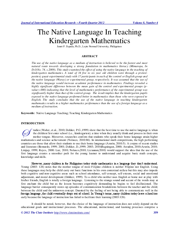 thesis about kindergarten in the philippines