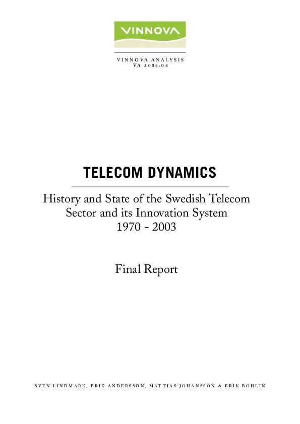 PDF) Telecom Dynamics  History and state of the Swedish telecom