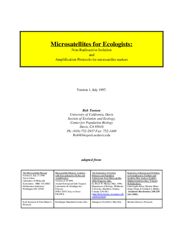 PDF) Microsatellites for ecologists: non-radioactive