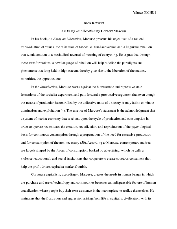 How To Write An Essay For High School Docx How To Write A Thesis Statement For A Essay also Persuasive Essay Paper Review An Essay On Liberation By Herbert Marcuse  Serafettin  Catcher In The Rye Essay Thesis