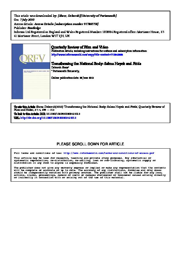 bde03f7877f Transforming the National Body  Salma Hayek and Frida in Quarterly ...