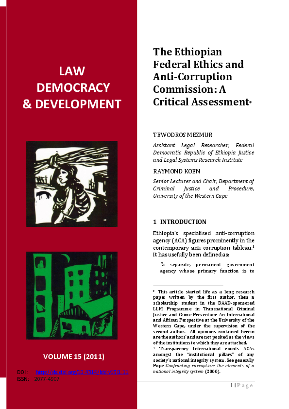 PDF) The Ethiopian Federal Ethics and Anti-Corruption