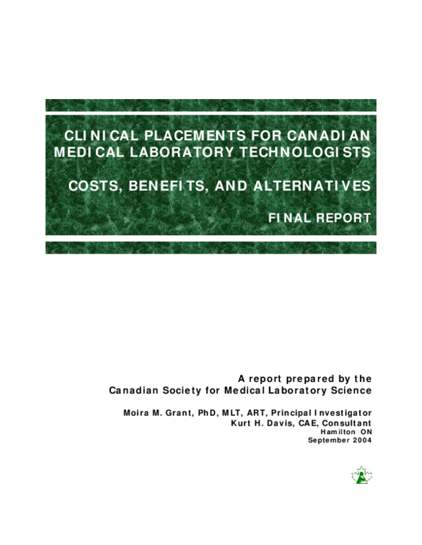 PDF) CLINICAL PLACEMENTS FOR CANADIAN MEDICAL LABORATORY