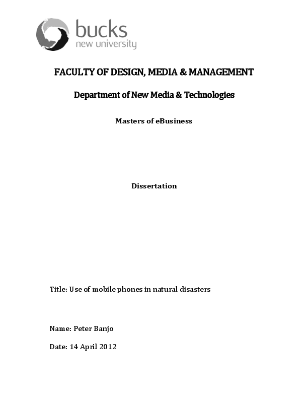 DOC) Use of mobile phones in natural disasters | Peter Banjo