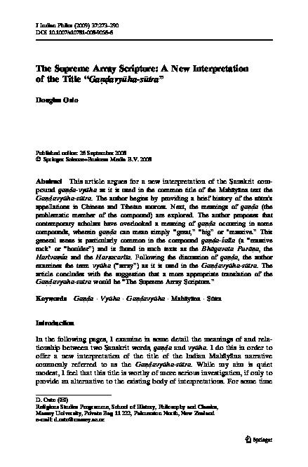 PDF) The Supreme Array Scripture: A New Interpretation of the Title