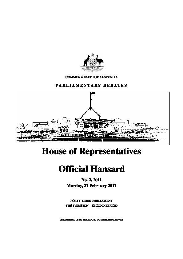 PDF) House of Representatives Official Hansard | Mary Tehan
