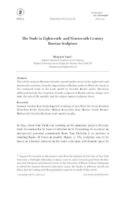 """PDF) """"The Nude in Eighteenth- and Nineteenth-Century Russian ..."""