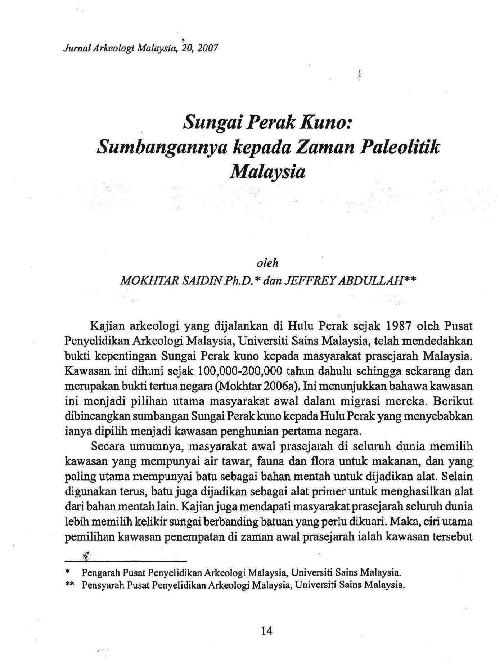 Pdf Sungai Perak Kuno Sumbangannya Kepada Zaman Paleolitik Malaysia Jeffrey Abdullah Academia Edu