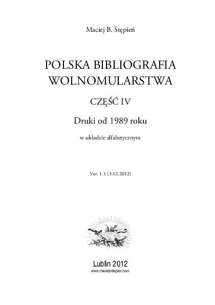 Pdf Polish Bibliography Of Freemasonry Part Four From
