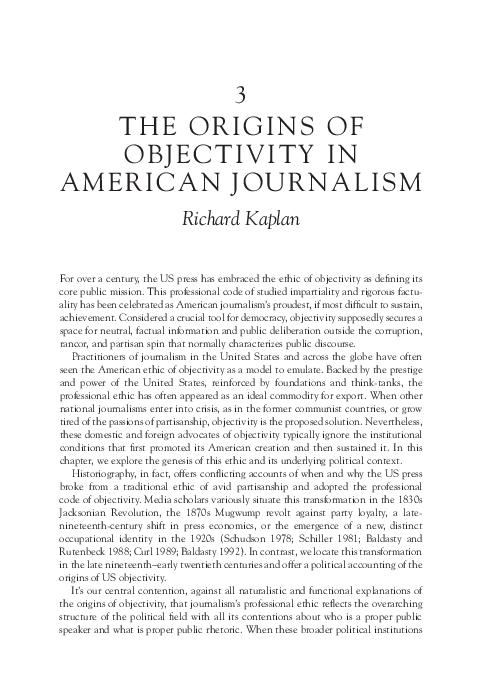 PDF) The Origins of Objectivity in American Journalism