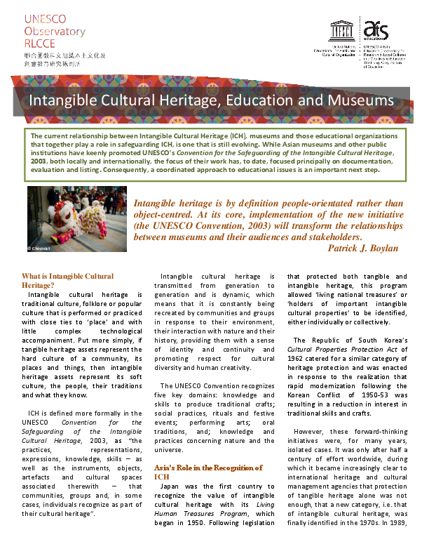 Intangible Heritage (Key Issues in Cultural Heritage)