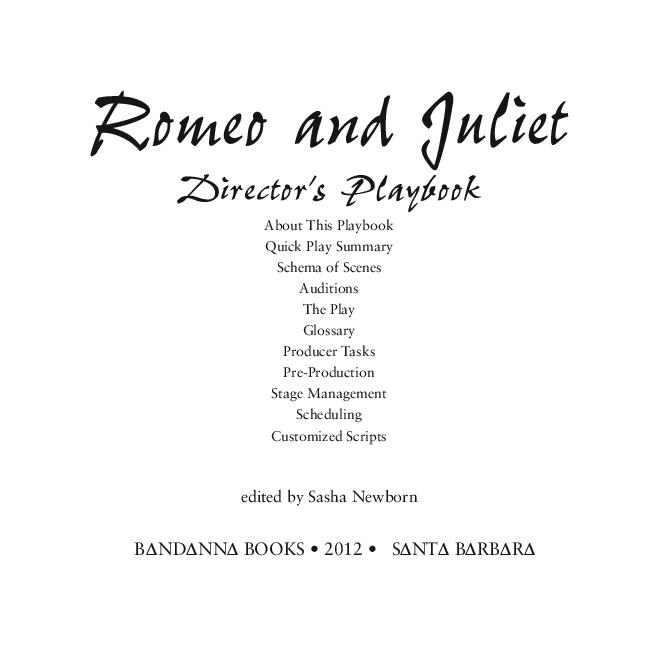 Pdf Romeo And Juliet Director S Playbook Birdie Newborn Academia Edu