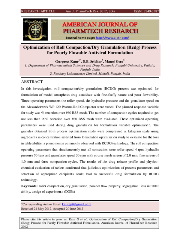 PDF) Optimization of Roll Compaction/Dry Granulation (Rcdg) Process