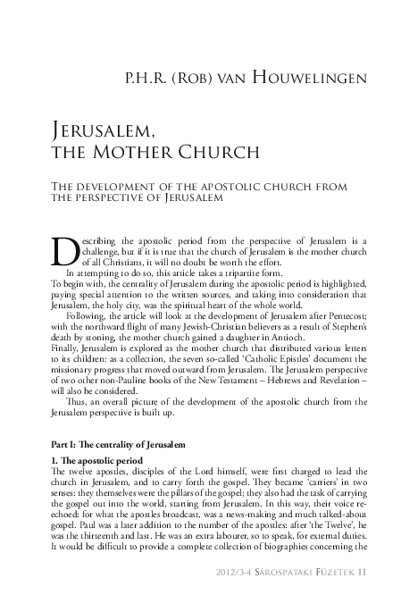 PDF) Jerusalem, the Mother Church  The Development of the Apostolic