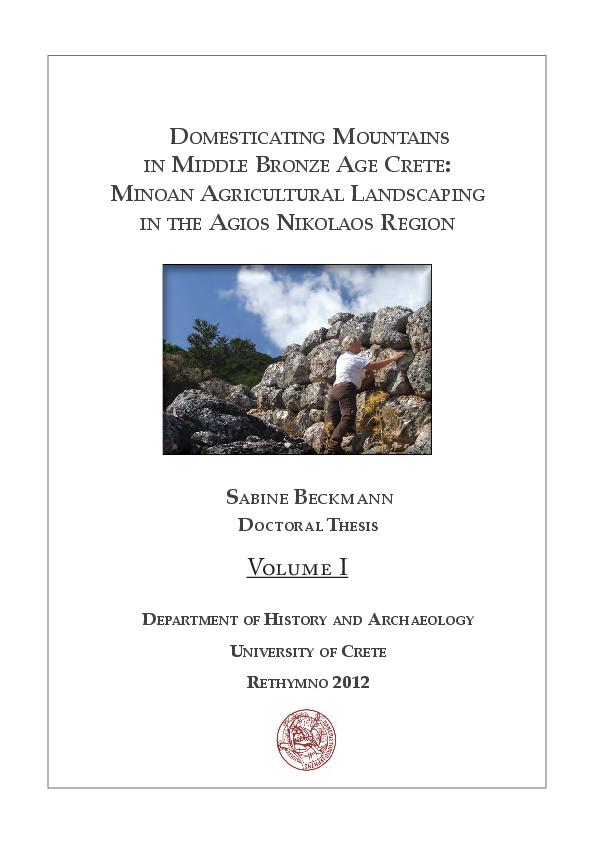 Beckmann, Sabine: Domesticating Mountains in Middle Bronze