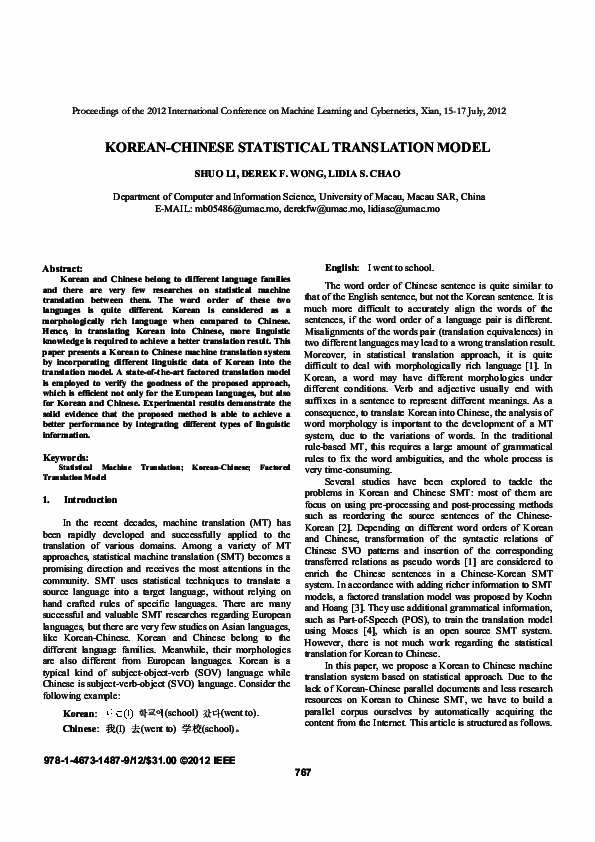PDF) Korean-Chinese statistical translation model | Shuo Li