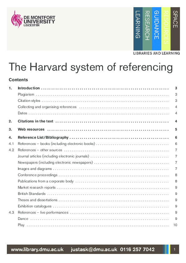 Pdf Harvard Reference And Citation Style In Unimas Mohd