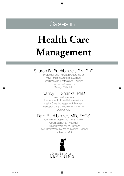 Table of Contents for: Cases in health care management