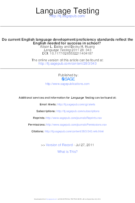 PDF) Do current English language development/proficiency standards