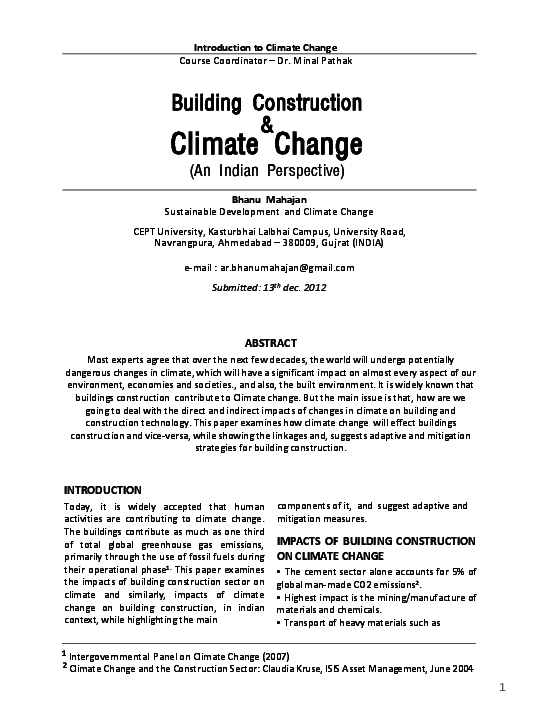 PDF) Building Construction and Climate Change | bhanu mahajan