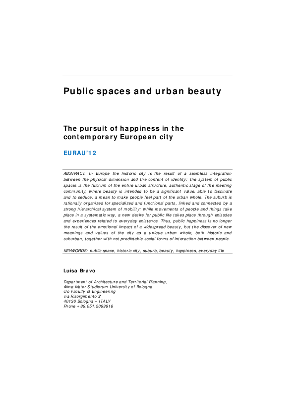 PDF) Public spaces and urban beauty  The pursuit of happiness in the
