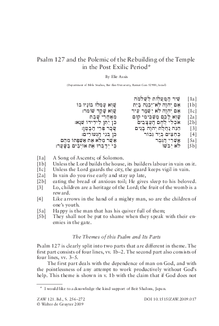 PDF) Psalm 127 and the Polemic of the Rebuilding of the