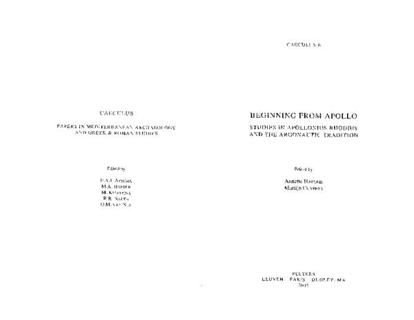 """PDF) """"The Constructions of the Argo in Apollonius' Argonautica"""", in"""