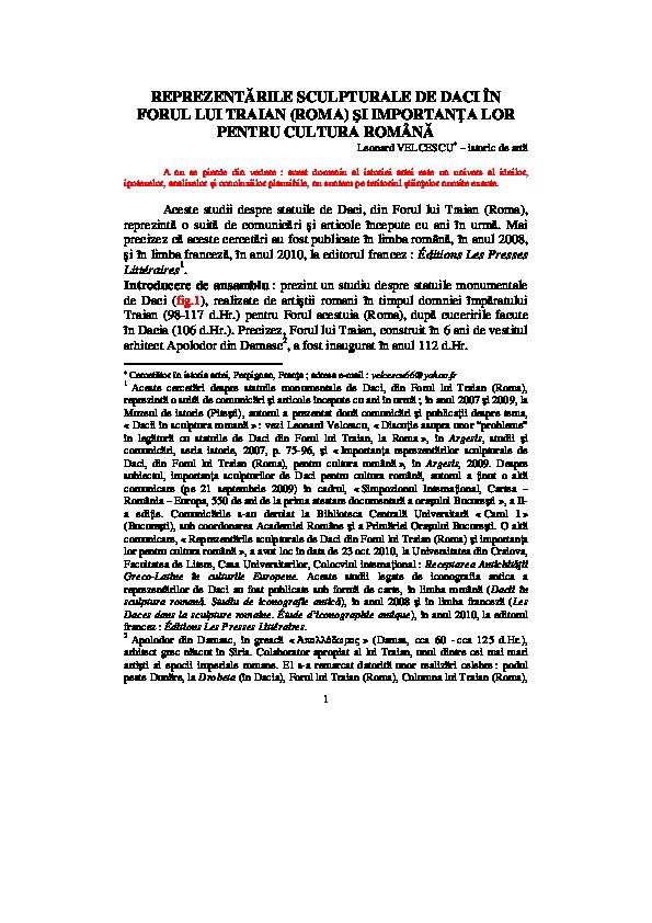 PDF) « Reprezentările sculpturale de Daci în Forul lui
