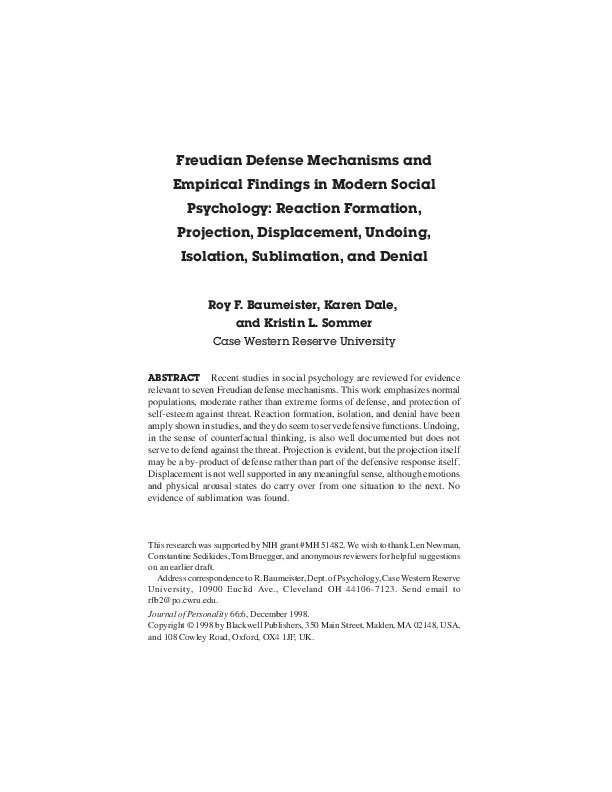 Pdf Freudian Defense Mechanisms And Empirical Findings In Modern