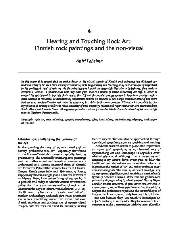 PDF) Hearing and touching rock art: Finnish rock paintings