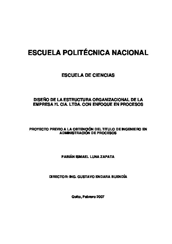 Pdf Diseño De La Estructura Organizacional De La Empresa 7l