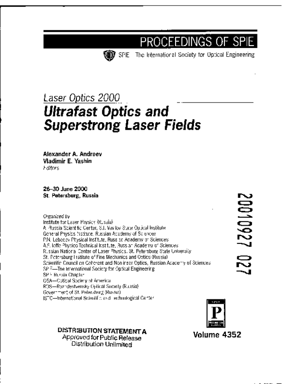 PDF) Laser Optics 2000: Ultrafast Optics and Superstrong