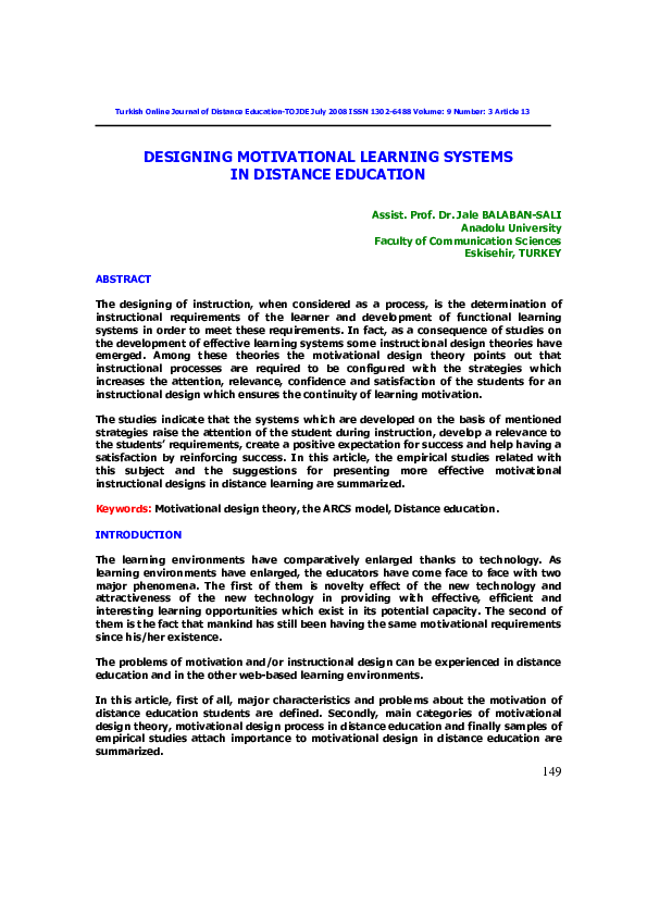 Pdf Designing Motivational Learning Systems In Distance Education Jale Balaban Sali Academia Edu