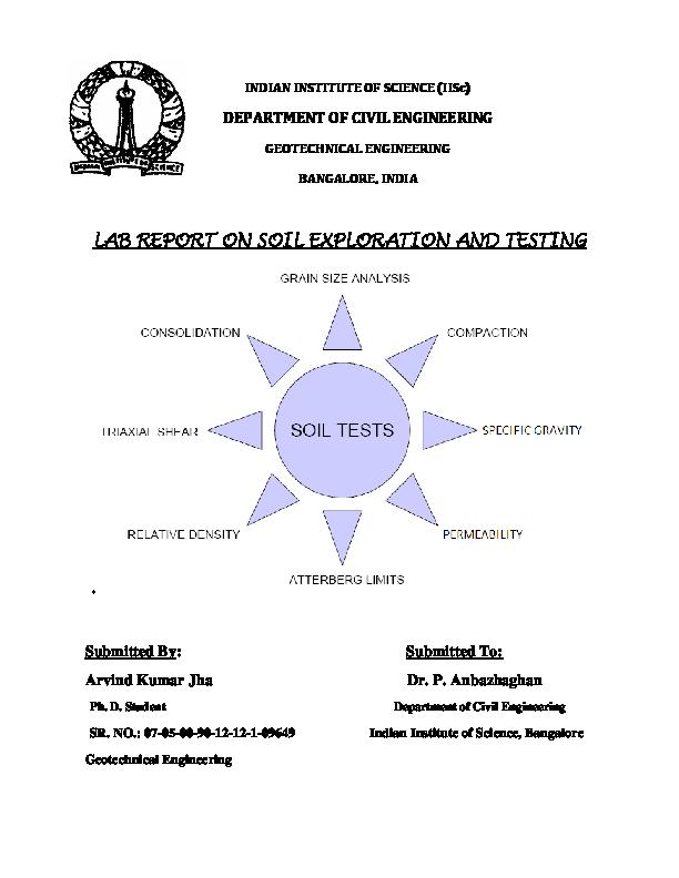 PDF) Laboratory soil testing report by Arvind Kumar Jha