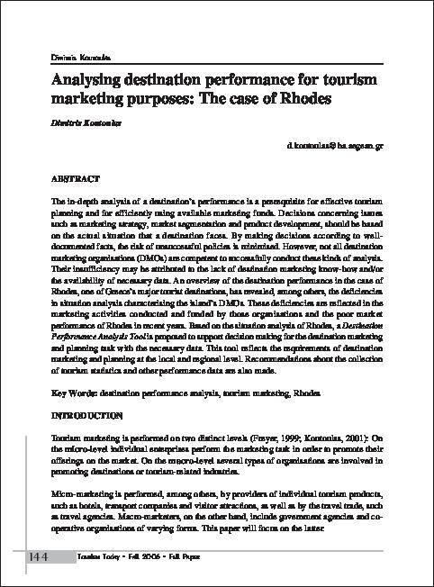 PDF) Analysing destination performance for tourism marketing